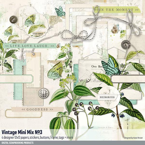 Vintage Mini Mix Kit No. 03 Digital Art - Digital Scrapbooking Kits