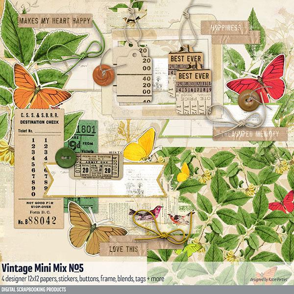 Vintage Mini Mix Kit No. 05 Digital Art - Digital Scrapbooking Kits
