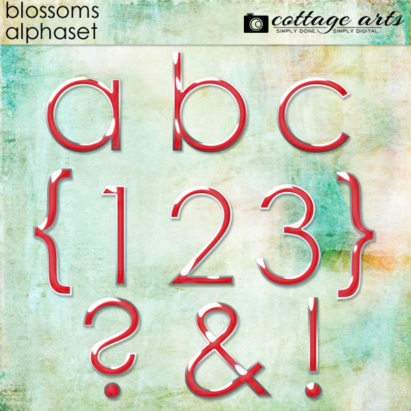 Blossoms AlphaSet Digital Art - Digital Scrapbooking Kits