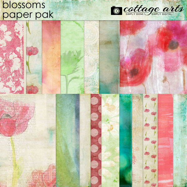 Blossoms Paper Pak Digital Art - Digital Scrapbooking Kits