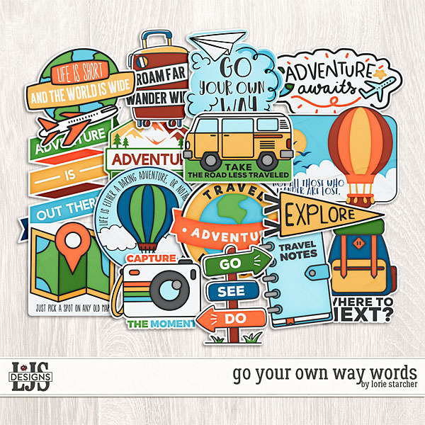 Go Your Own Way Words Digital Art - Digital Scrapbooking Kits
