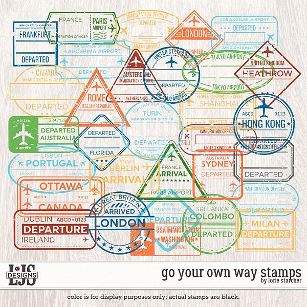 Go Your Own Way Stamps Digital Art - Digital Scrapbooking Kits