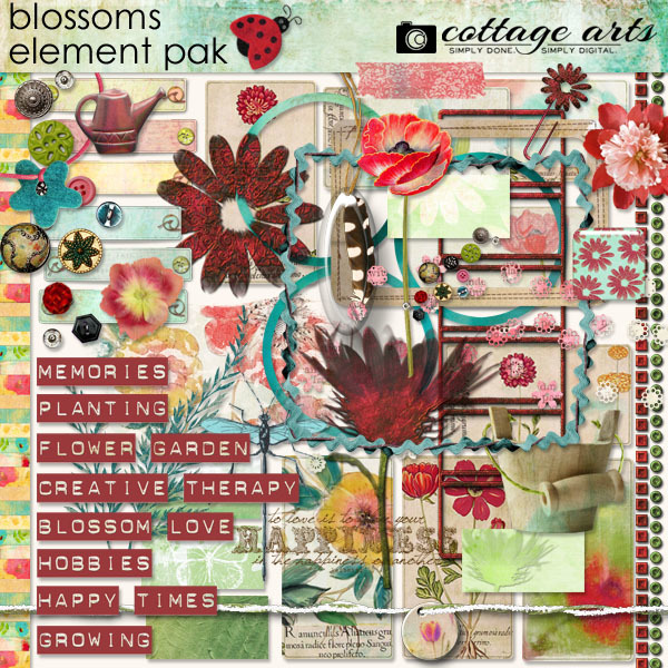Blossoms Element Pak Digital Art - Digital Scrapbooking Kits