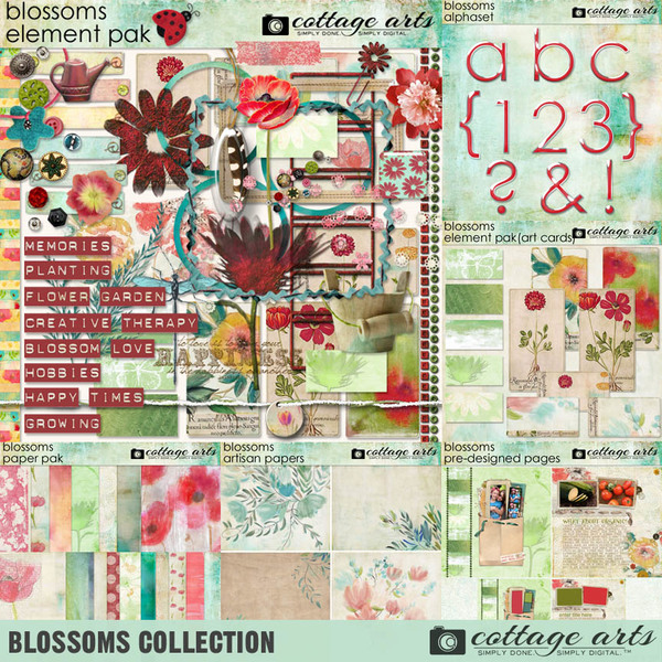 Blossoms Collection Digital Art - Digital Scrapbooking Kits
