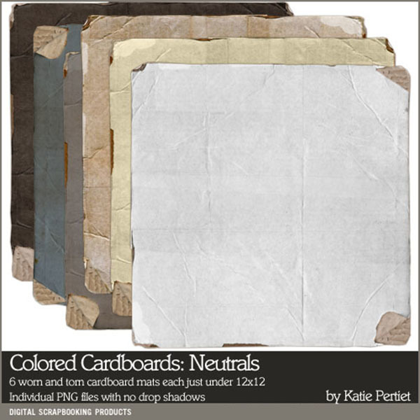 Colored Cardboard Neutrals Digital Art - Digital Scrapbooking Kits