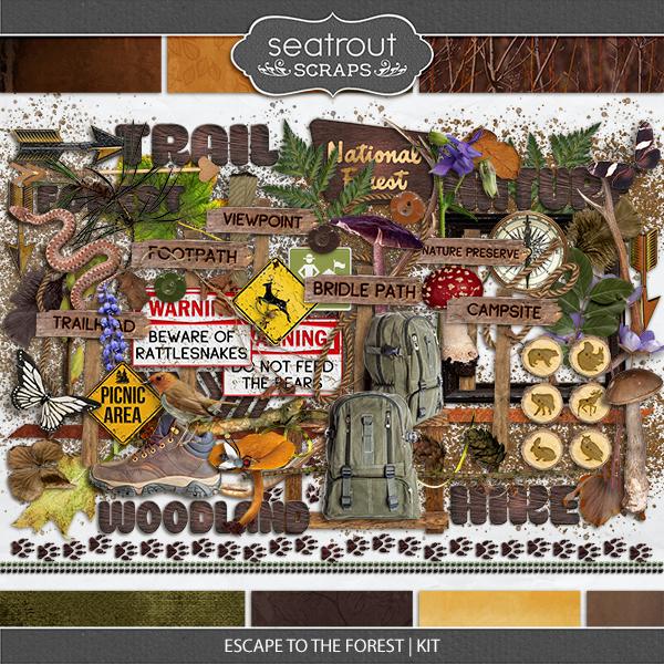 Escape to the Forest Kit Digital Art - Digital Scrapbooking Kits