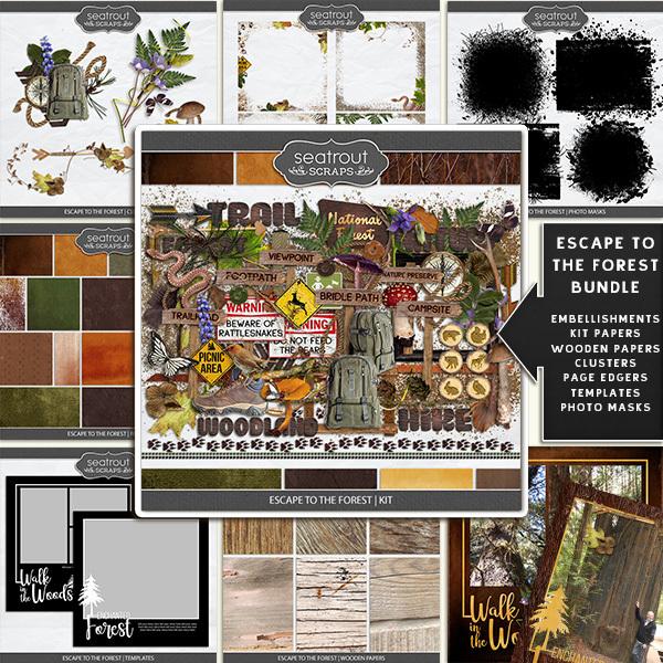 Escape to the Forest Bundle Digital Art - Digital Scrapbooking Kits