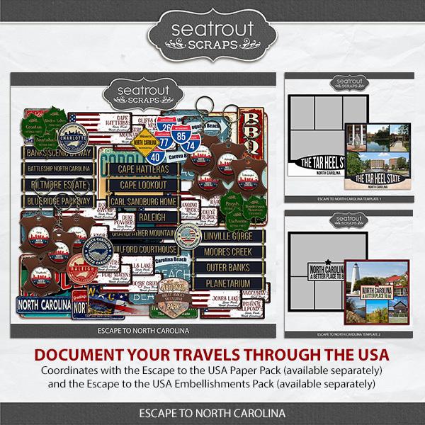 Escape to North Carolina Digital Art - Digital Scrapbooking Kits