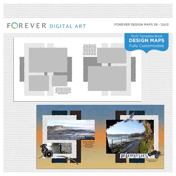 Forever Design Maps 38 12x12 Digital Art - Digital Scrapbooking Kits