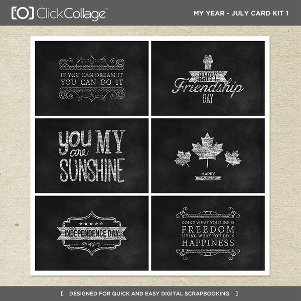 My Year - July Card Kit 1 Digital Art - Digital Scrapbooking Kits