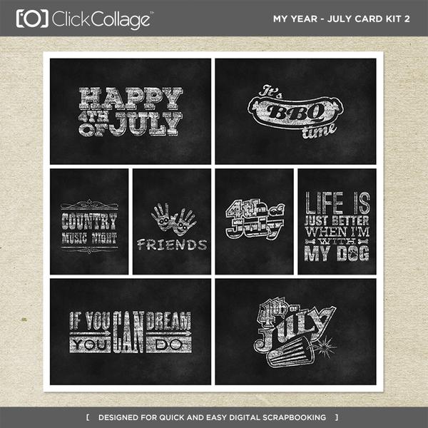 My Year - July Card Kit 2 Digital Art - Digital Scrapbooking Kits
