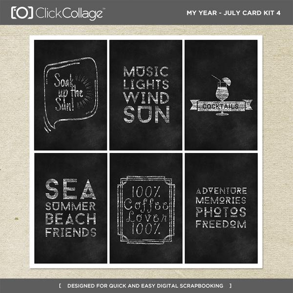My Year - July Card Kit 4 Digital Art - Digital Scrapbooking Kits