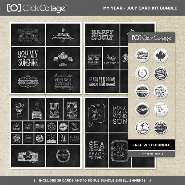 My Year - July Card Kit Bundle Digital Art - Digital Scrapbooking Kits
