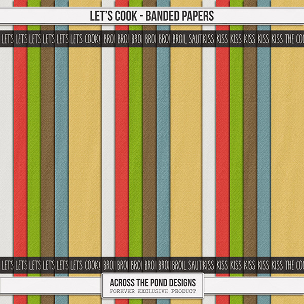 Let's Cook Banded Papers Digital Art - Digital Scrapbooking Kits