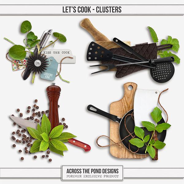 Let's Cook Clusters Digital Art - Digital Scrapbooking Kits