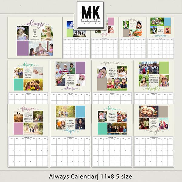 Always Calendar 8.5x11 Digital Art - Digital Scrapbooking Kits