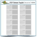 2020 10x4 Blank Desktop Calendar Template