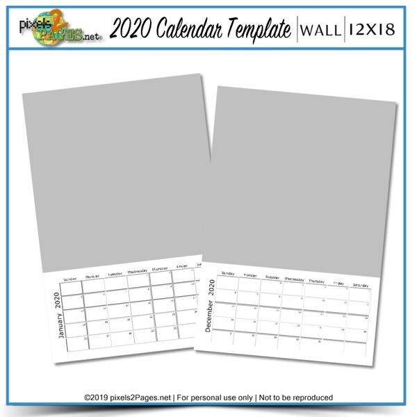 2020 12x18 Blank Calendar Template Digital Art - Digital Scrapbooking Kits
