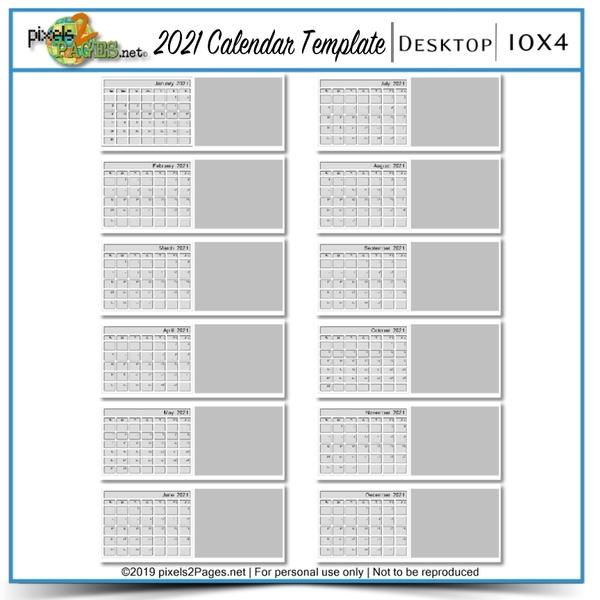2021 10x4 Blank Calendar Template Digital Art - Digital Scrapbooking Kits