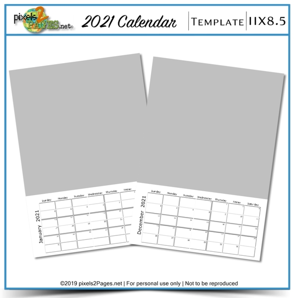 2021 11x8.5 Blank Calendar Template Digital Art - Digital Scrapbooking Kits