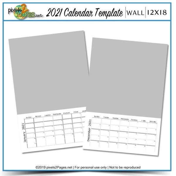 2021 12x18 Blank Calendar Template Digital Art - Digital Scrapbooking Kits