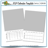2021 12x18 Blank Calendar Template