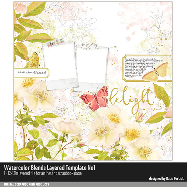 Watercolor Blends Layered Template No. 01 Digital Art - Digital Scrapbooking Kits