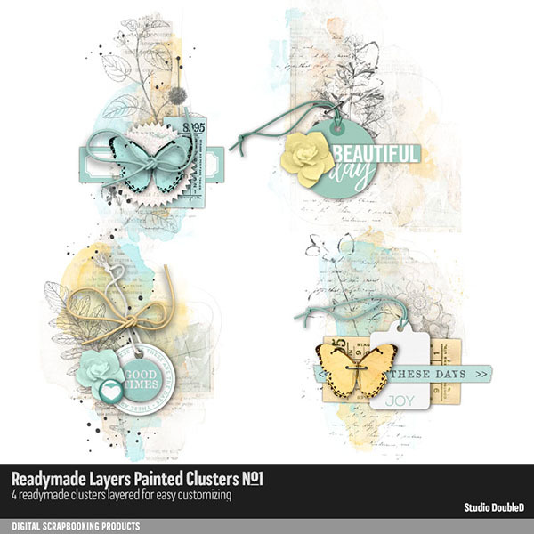 Readymade Layers Painted Clusters No. 01 Digital Art - Digital Scrapbooking Kits