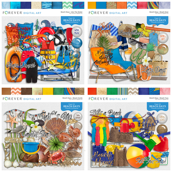 Beach Days - Bundle Digital Art - Digital Scrapbooking Kits