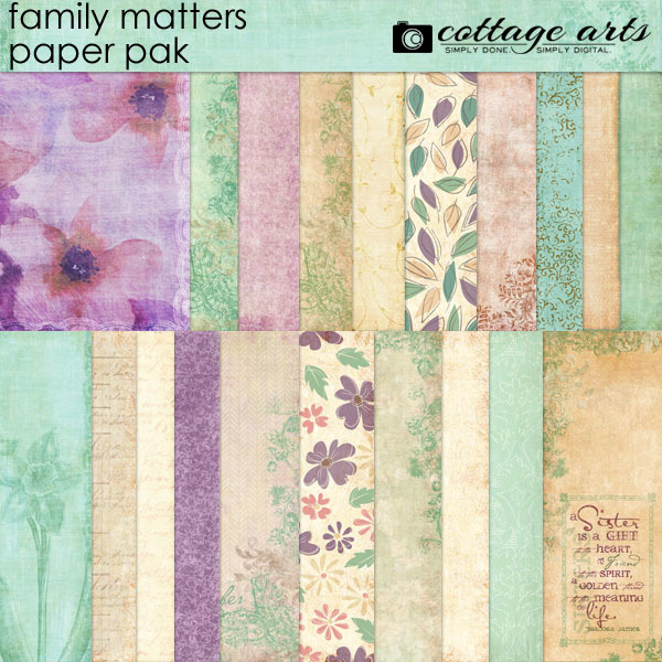 Family Matters Paper Pak Digital Art - Digital Scrapbooking Kits