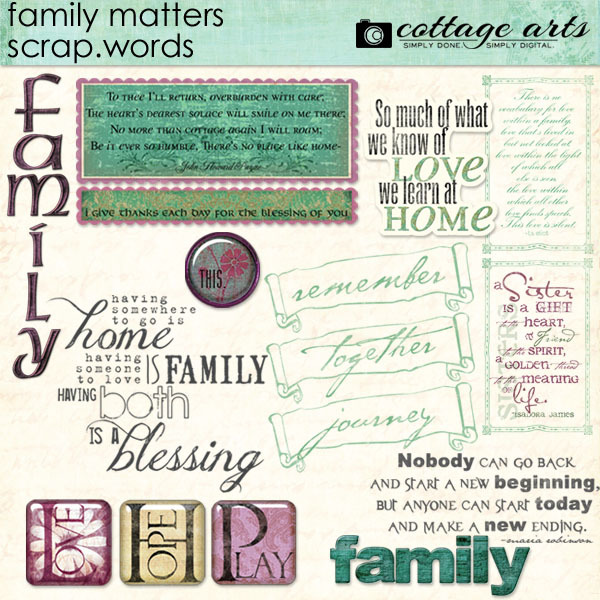 Family Matters Scrap.Words Digital Art - Digital Scrapbooking Kits