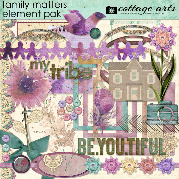 Family Matters Element Pak Digital Art - Digital Scrapbooking Kits