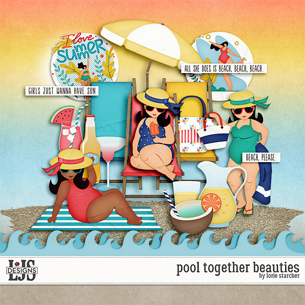 Pool Together Beauties Digital Art - Digital Scrapbooking Kits