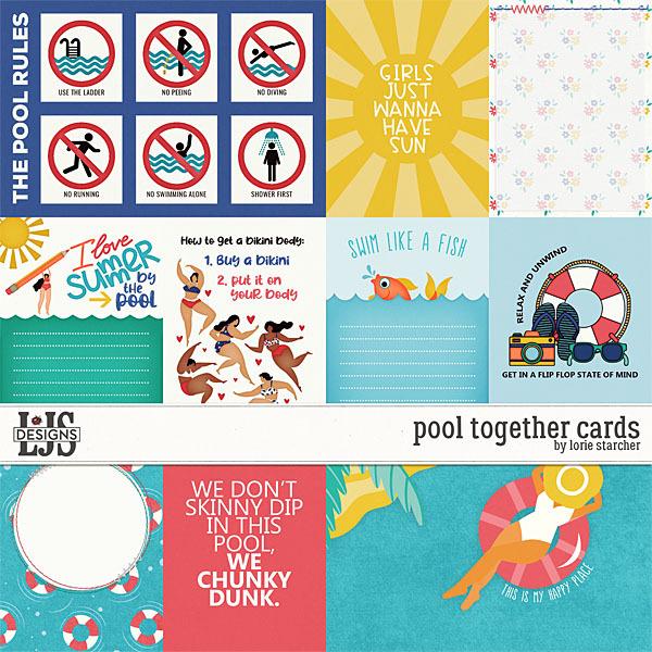 Pool Together Cards Digital Art - Digital Scrapbooking Kits