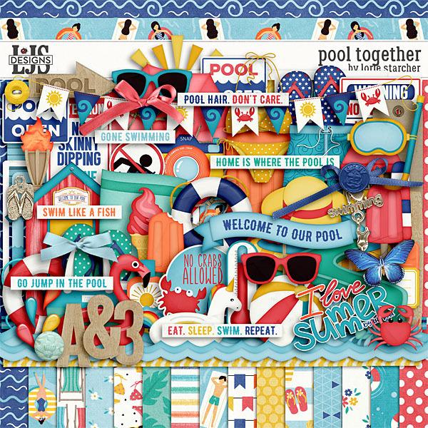 Pool Together Digital Art - Digital Scrapbooking Kits
