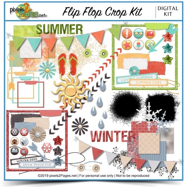 Flip Flop Crop Kit Digital Art - Digital Scrapbooking Kits