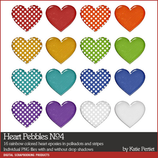 Heart Pebbles No. 04 Digital Art - Digital Scrapbooking Kits