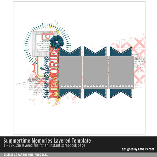 Summertime Memories Layered Template Digital Art - Digital Scrapbooking Kits