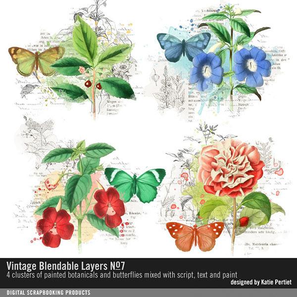 Vintage Blendable Layers No. 07 Digital Art - Digital Scrapbooking Kits