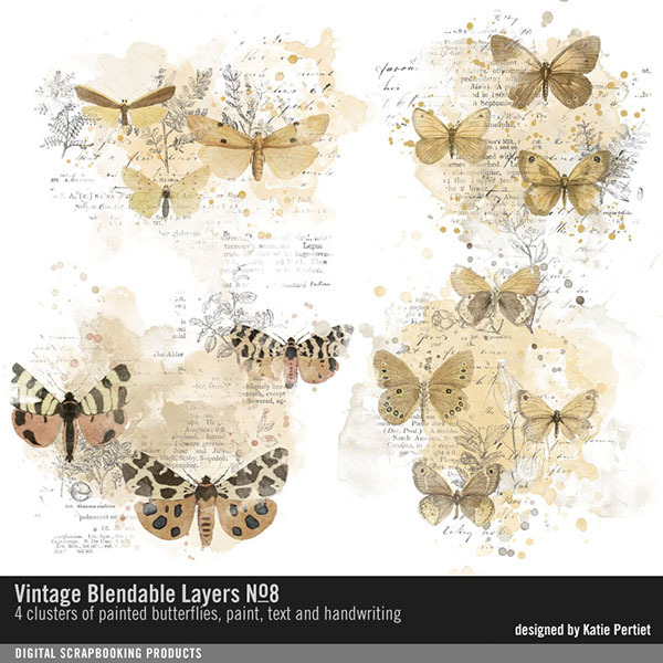 Vintage Blendable Layers No. 08 Digital Art - Digital Scrapbooking Kits