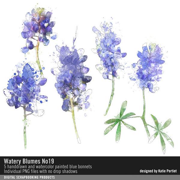 Watery Blumes No. 19 Digital Art - Digital Scrapbooking Kits