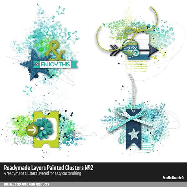 Readymade Layers Painted Clusters No. 02 Digital Art - Digital Scrapbooking Kits