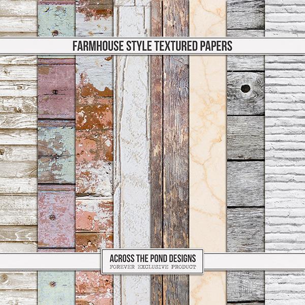 Farmhouse Style Textured Papers Digital Art - Digital Scrapbooking Kits