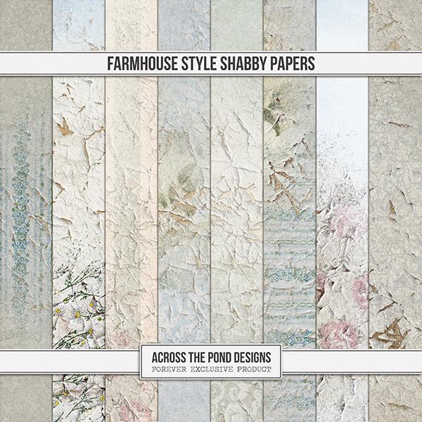 Farmhouse Style Shabby Papers Digital Art - Digital Scrapbooking Kits
