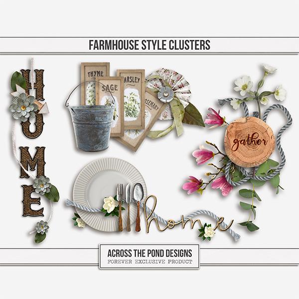 Farmhouse Style Clusters Digital Art - Digital Scrapbooking Kits