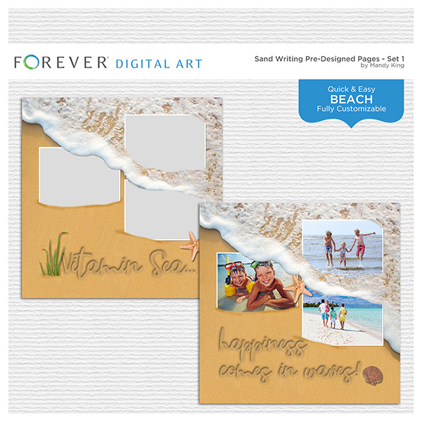 Sand Writing Pre-Designed Pages - Set 1 Digital Art - Digital Scrapbooking Kits
