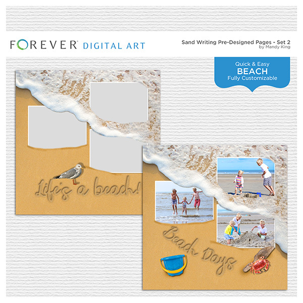 Sand Writing Pre-Designed Pages - Set 2 Digital Art - Digital Scrapbooking Kits