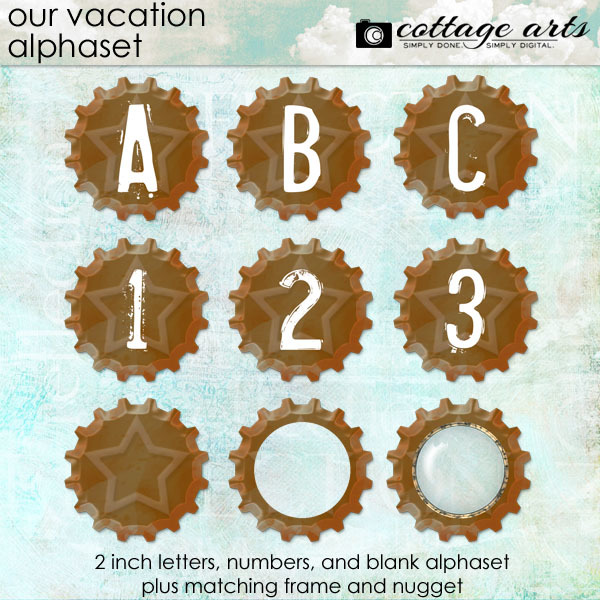 Our Vacation AlphaSet Digital Art - Digital Scrapbooking Kits