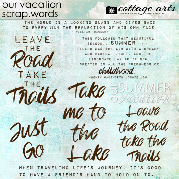 Our Vacation Scrap.Words Digital Art - Digital Scrapbooking Kits