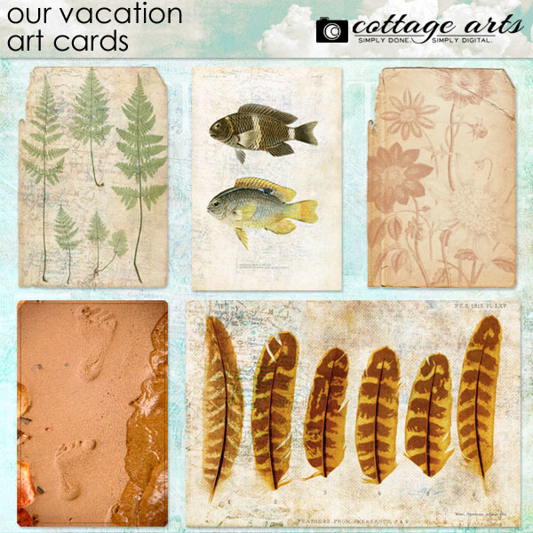 Our Vacation Art Cards Digital Art - Digital Scrapbooking Kits